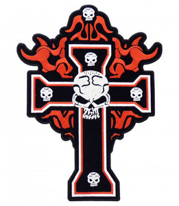 Flaming Black Cross & Skulls Large Patch