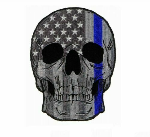 Thin Blue Line US Flag Skull Large Patch