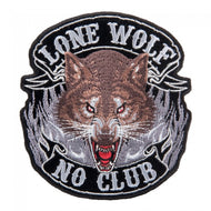 Growling Lone Wolf No Club Back Large Patch