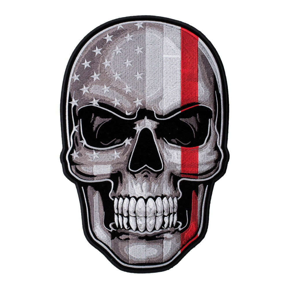 Thin Red Line Subdued US Flag Skull Large Patch
