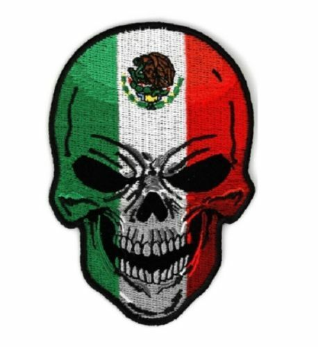 Large Mexican Flag Skull Patch
