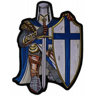 Crusader Knight Kneeling with Sword and Shield in Blue Large Back Patch