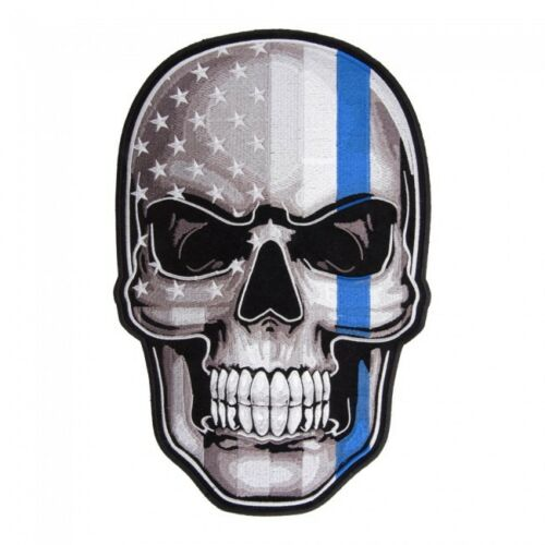 Thin Blue Line Subdued US Flag Skull Large Patch