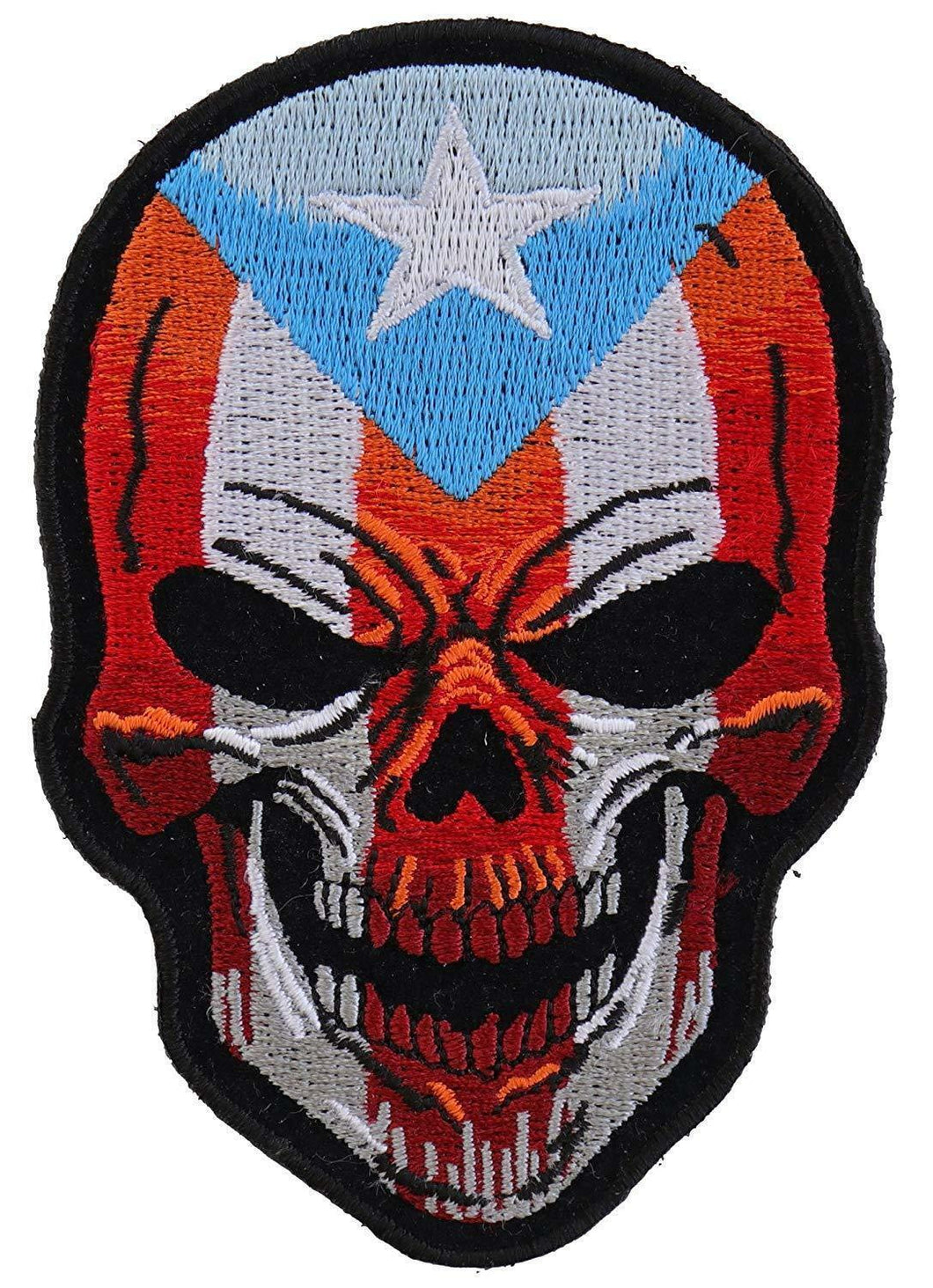 Large Puerto Rico Flag Skull Patch