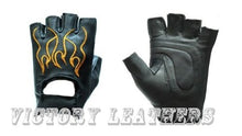 Load image into Gallery viewer, Men's Fingerless Leather Gloves with Orange Flames