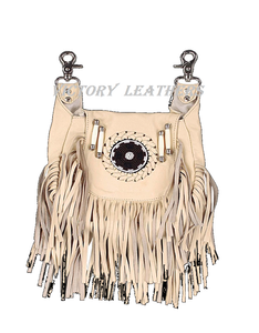 Women's Leather Fringe Hip Bag Purse 2110  ( Multi Colors )