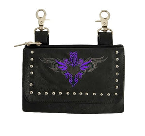 Women's Leather Hip Bag Belt Loop Purse With Tribal Heart ( Multi Colors )