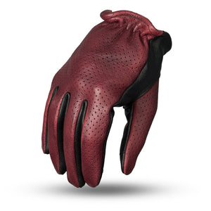 First MFG Men's Leather OxBlood & Black Leather Preforated Gloves ( ROPER ) FI218