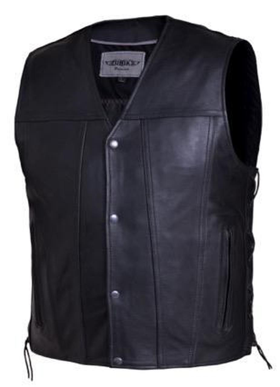 Men's Black Leather Vest With Carry Concealed Pockets 2611.00