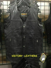 Load image into Gallery viewer, Men's 10 Pocket Tall Leather Vest 2632.T ( No Side Laces )