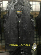 Men's 10 Pocket Tall Leather Vest 2632.T ( No Side Laces )