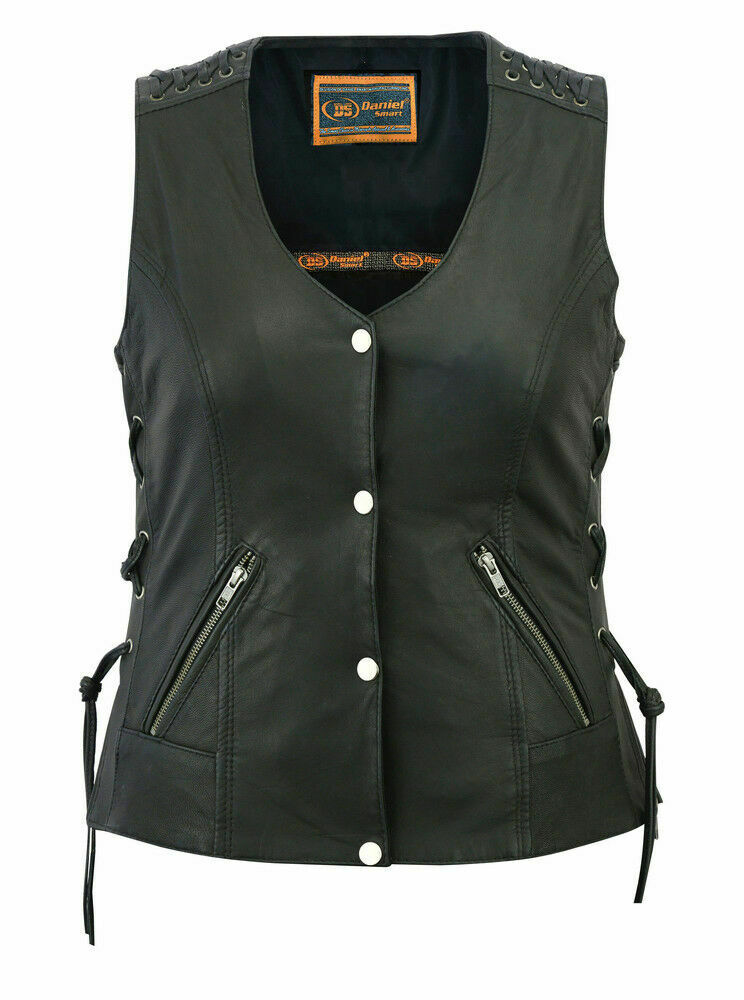 Women's Laced Leather Vest DS285