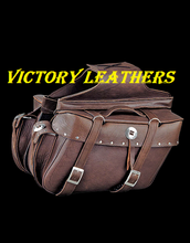 Load image into Gallery viewer, Brown Leather Motorcyle Saddle Bags 2918.BZ