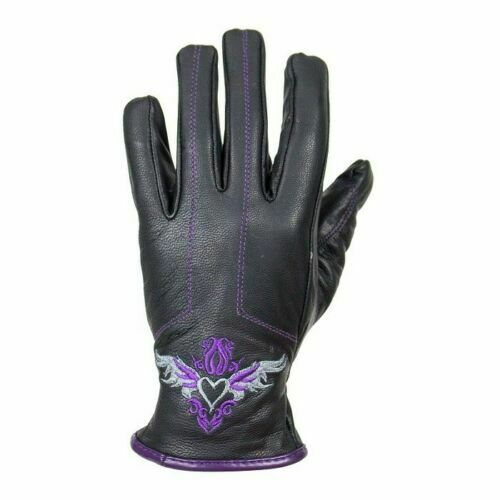 Women's Embroidered Purple Heart Graphic Naked Leather Gloves
