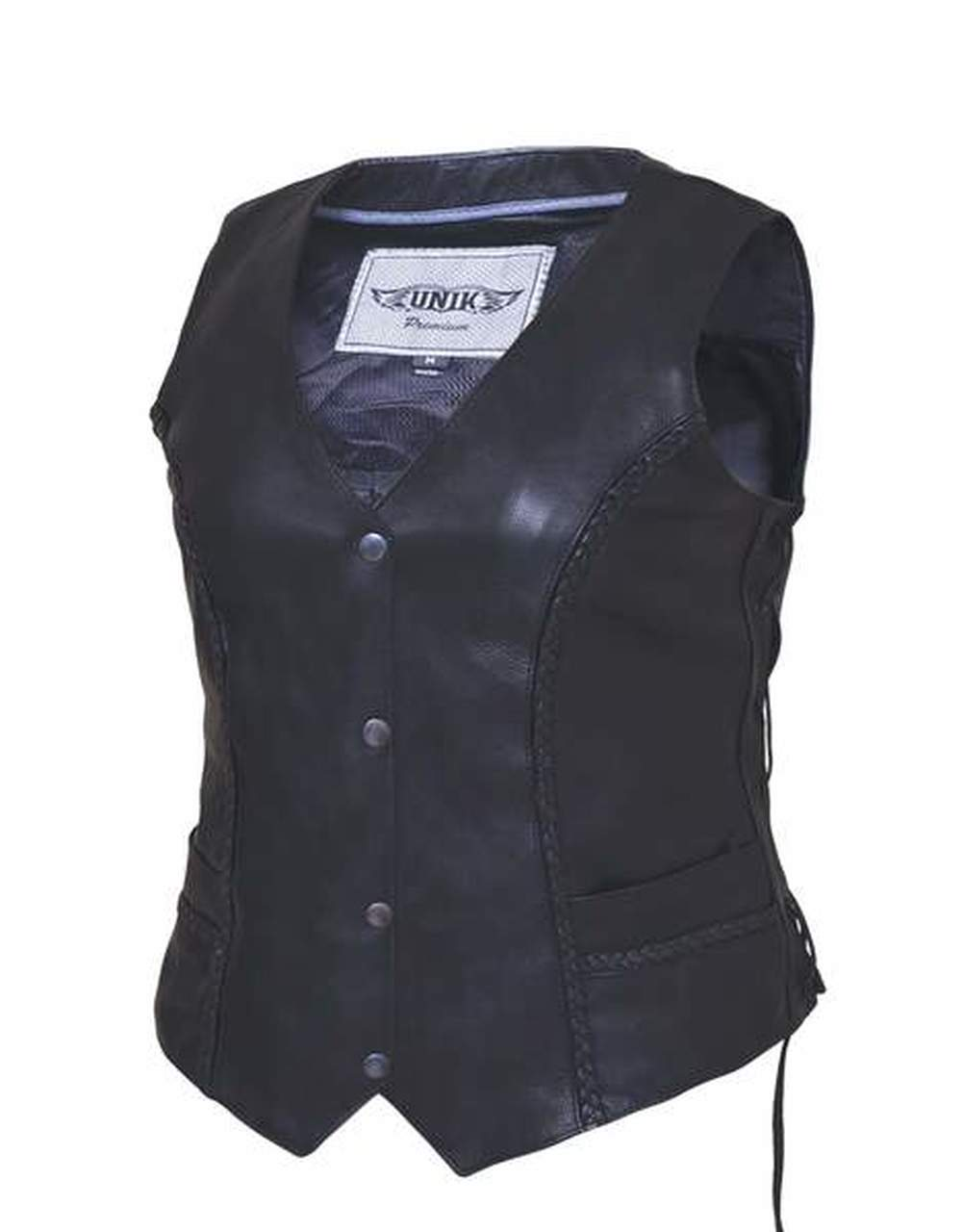 Women's Leather Vest with Small Braids 0382.GO