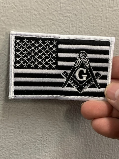 American Flag with Mason Emblem White Patch