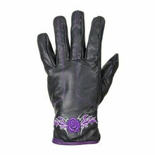 Load image into Gallery viewer, Women's Purple-Rose Graphic Embroidered Leather Gloves