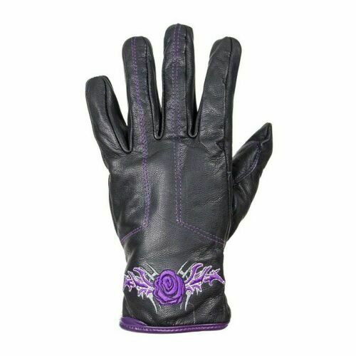 Women's Purple-Rose Graphic Embroidered Leather Gloves