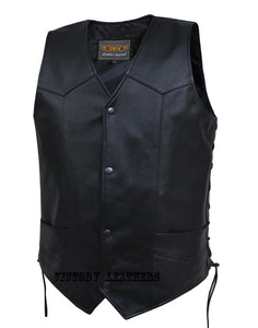Men's Classic Leather Vest With Side Laces 0603.00