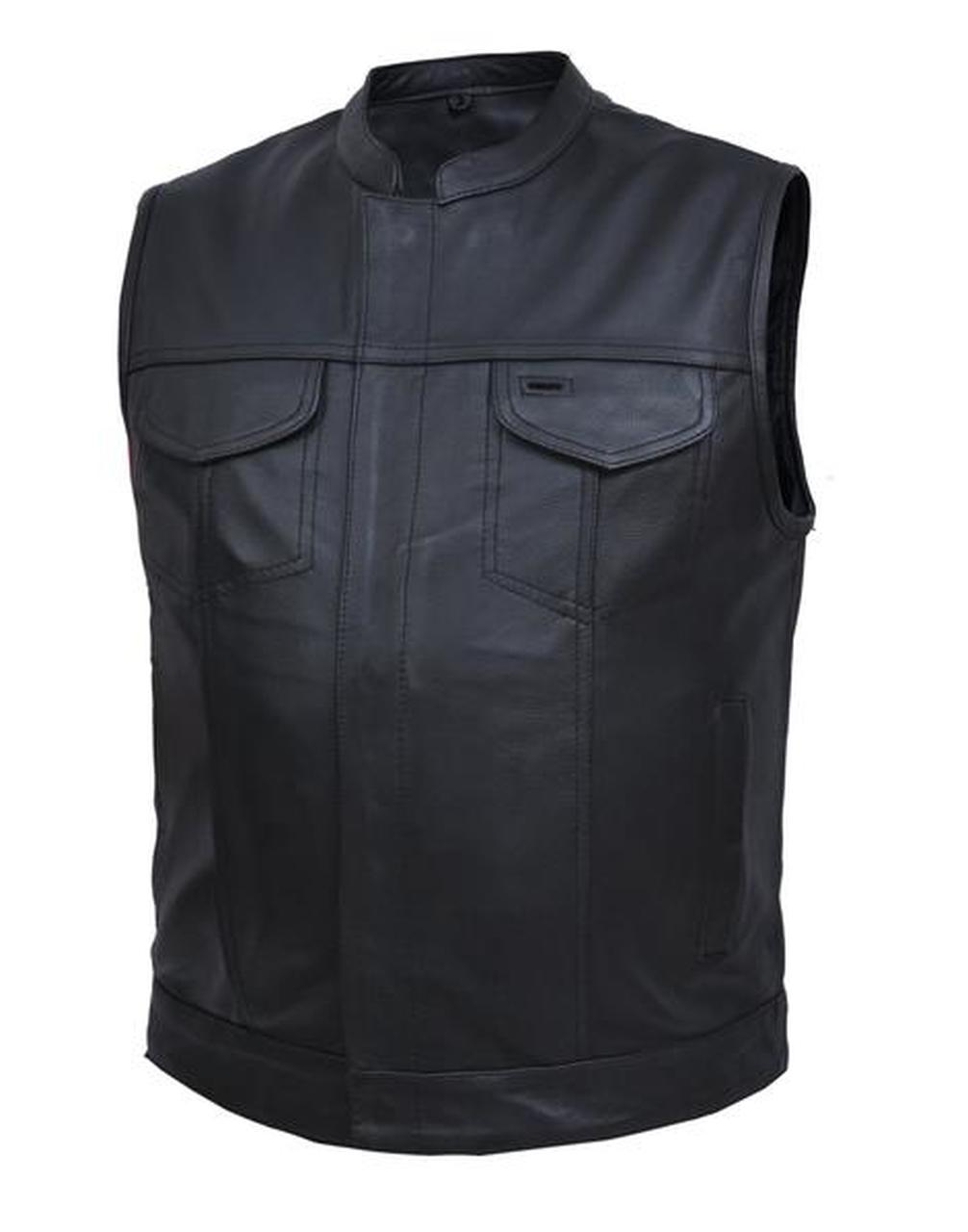 Men's Front Zipper & Snap Closure Leather Motorcycle Club Vest 6665.00
