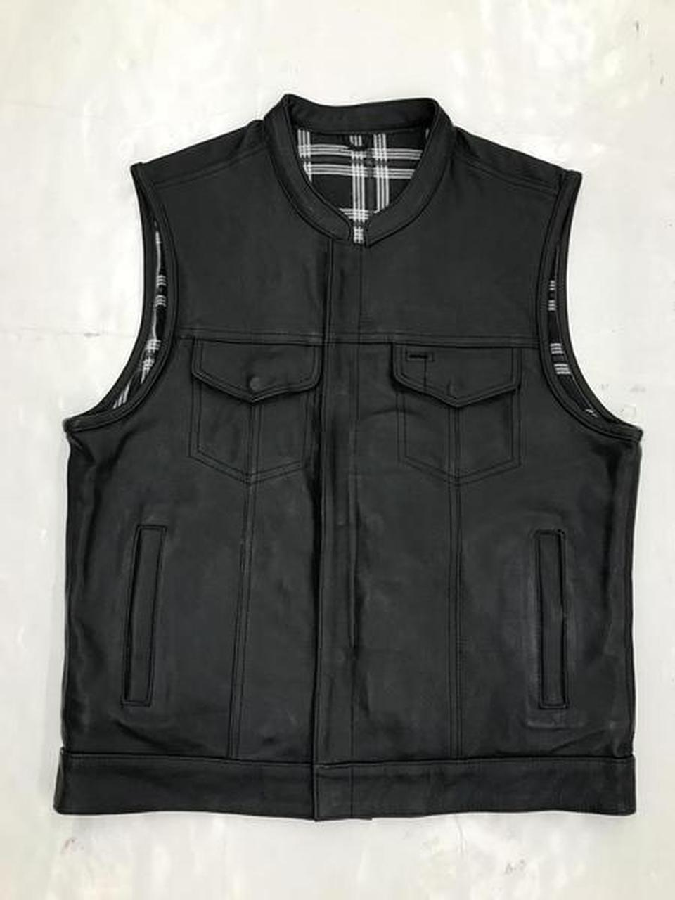 Men's Unik Leather Vest with Black & White Flannel Lining 6664.00