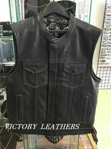 Men's Leather Motorcycle Club Vest With Black & White Paisley 6665.00