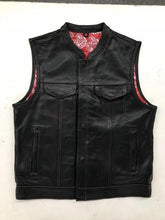 Load image into Gallery viewer, Men's Leather Motorcycle Club Vest With Red & White Paisley 6665.01