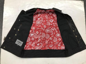 Men's Leather Motorcycle Club Vest With Red & White Paisley 6665.01