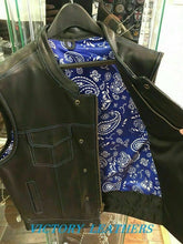 Load image into Gallery viewer, Men's Leather Motorcycle Club Vest With Blue & White Paisley 6665.03