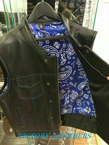 Men's Leather Motorcycle Club Vest With Blue & White Paisley 6665.03