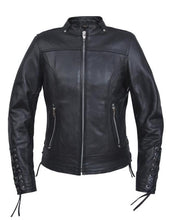 Load image into Gallery viewer, Women's Laced Leather Motorcycle Jacket 6801.PL