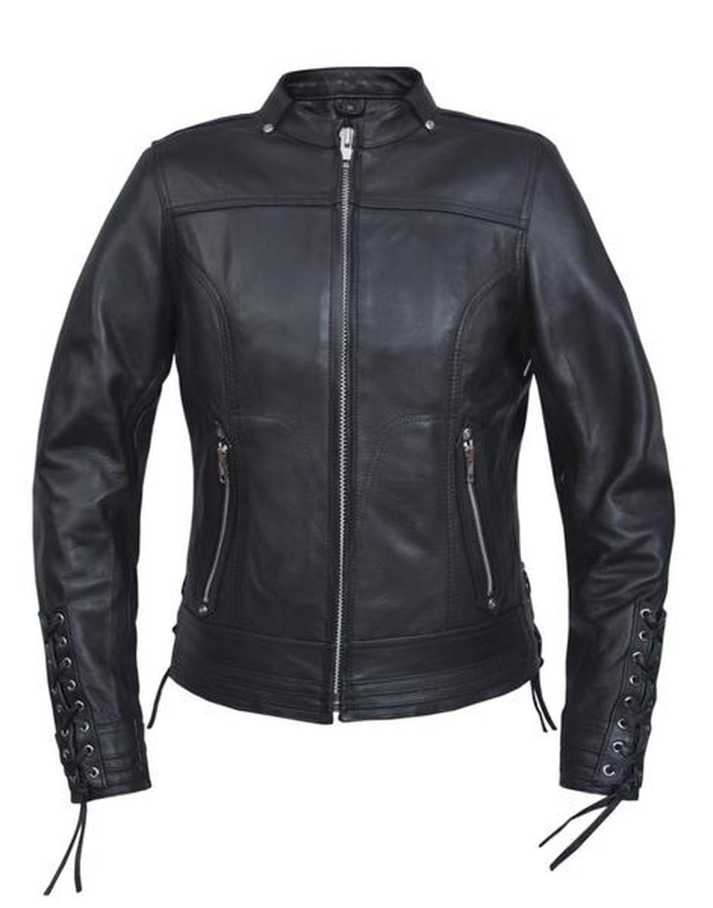 Women's Laced Leather Motorcycle Jacket 6801.PL