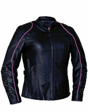Load image into Gallery viewer, Women's Unik Intl Leather Jacket with Pink Tribal Wings 6824.24