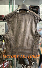 Load image into Gallery viewer, Unik Women's Amarillo Grey Front Zipper Leather Vest 6865.00