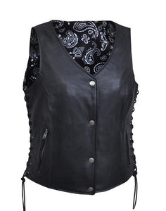 Women's Leather Motorcycle Vest with Black & White Paisley 6890.00