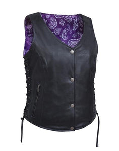 Women's Leather Motorcycle Vest with Purple & White Paisley 6890.17