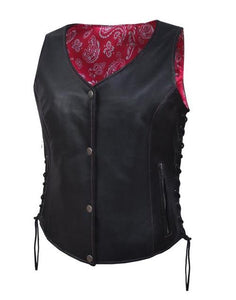 Women's Leather Motorcycle Vest with Pink & White Paisley 6890.24