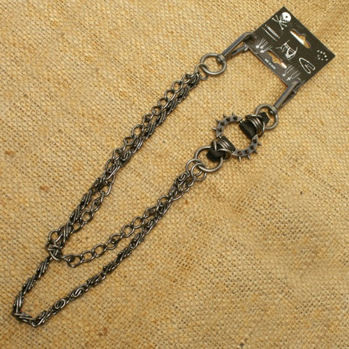 Spike ring Wallet Chain with gray double chain