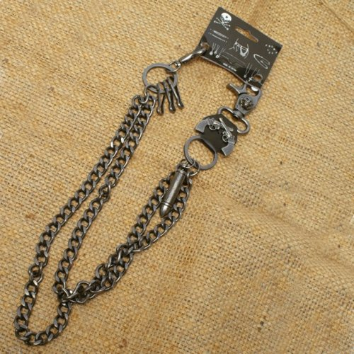 Wallet Chain with a skull / guns / bullet designs, double chain