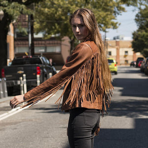 Ladies Motorcycle Leather Jacket with Fringes  ( DAISY ) WBL1503 Multi Colors