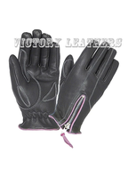 Women's Leather Gloves with Purple Stitching 8261.17