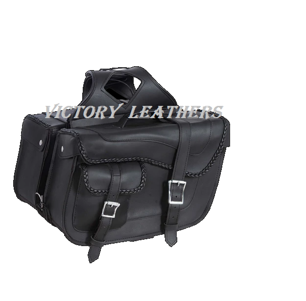 Black Braided PVC Saddle Bags 9330.ZP