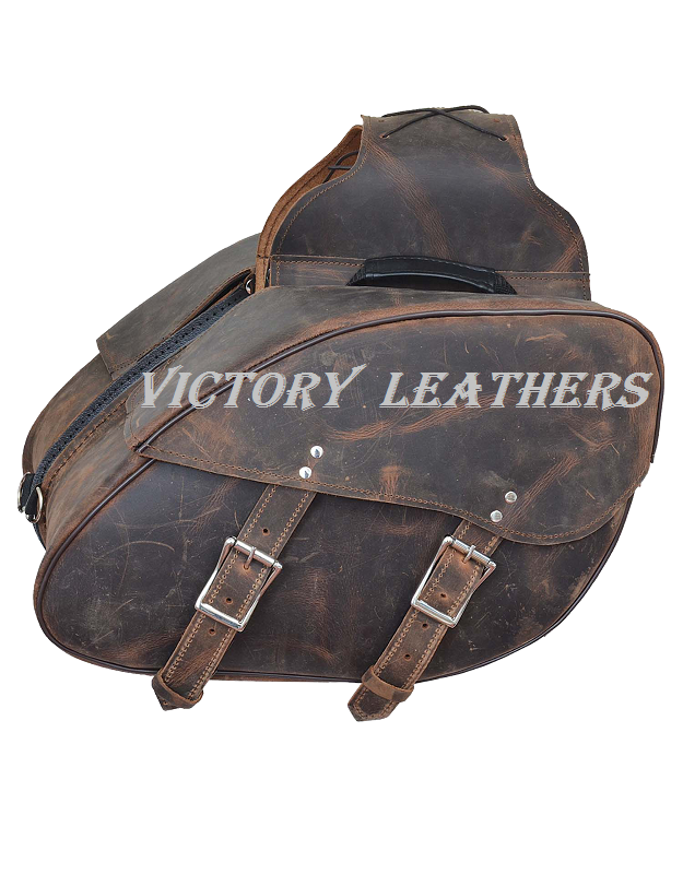 Deadwood Series Distress Brown Leather Saddle Bags 9352.ZP