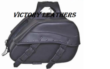 Load image into Gallery viewer, Black Studded PVC Saddle Bags 9566.00