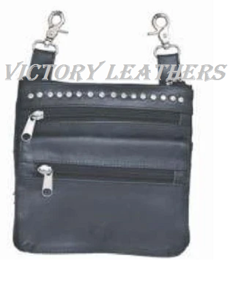 Women's Black Studded Hip Bag