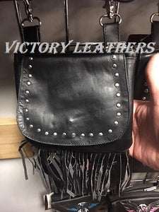 Women's Black Studded & Fringes Hip Bag 9729.00