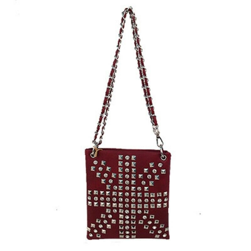 Ladies Chocolate Messenger Bag with Bling