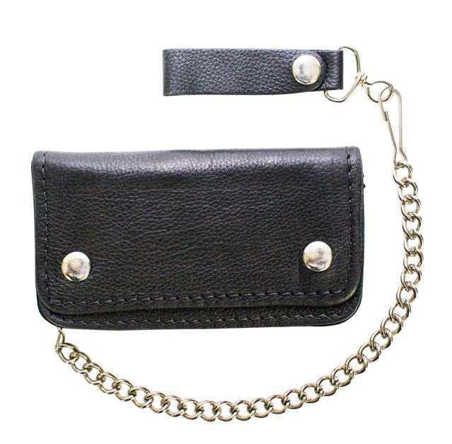 Men's Black Biker / Trucker Bifold Chain Wallet  AC50-11HD