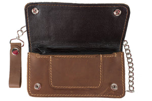 Men's Brown Biker / Trucker Bifold Chain Wallet AC51-11-BRN3
