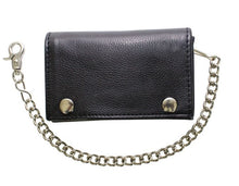 Load image into Gallery viewer, Black Naked Cowhide Leather Trifold Chain Wallet W/ Snaps AC52-11